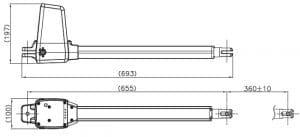 3.1 Kích thước mô tơ cổng tay đòn ĐÀI LOAN 200KG