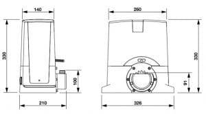 1. kích thước mô tơ cổng lùa BULL TURBO