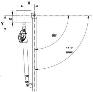3. chi tiết gắn mô tơ cổng tay đòn BILL khi mở cổng