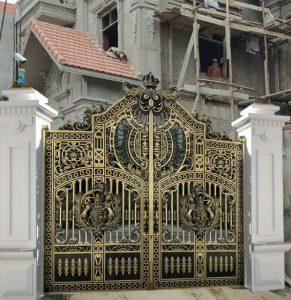 Mẫu cổng nhôm đúc tự động biệt thự đẹp