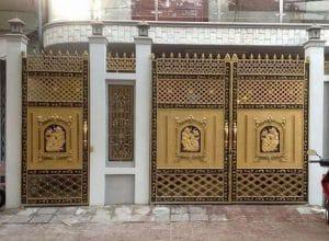 cổng chính và cổng phụ nhôm đúc